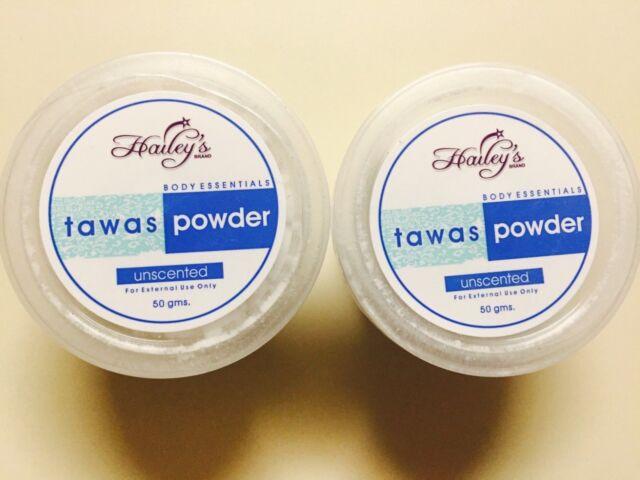 TAWAS POWDER UNSCENTED BODY ESSENTIALS 50 GRAMS X 2 JAR PURE & NEW ARRIVAL!