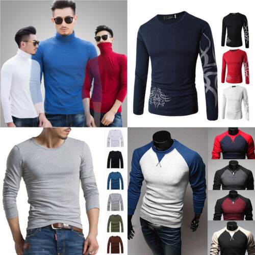 Fashion Men/'s Long Sleeve Casual Cotton Blend Basic Muscle Tee Slim Shirt Tops