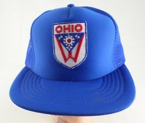 Ohio-State-Flag-Patch-Vintage-Trucker-Hat-Snapback-Mesh-Foam-Red-White-Blue-USA