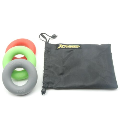 3 Set of xFitness Silicone Ring Hand Grippers 30//40//50 Lbs with Carry Bag