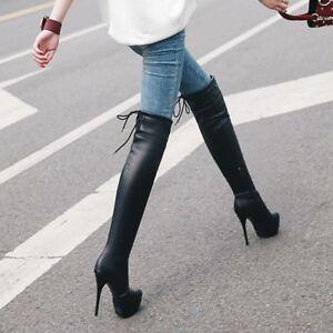 Details Overkneestiefel Zu Platform Stiletto Schuhe Neu Sexy High Stiefel Heel Damen XPwOZuikTl