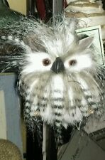 "New 7"" Fluffy Flatback Owl Fuzzy Hanging Ornament Christmas Floral"