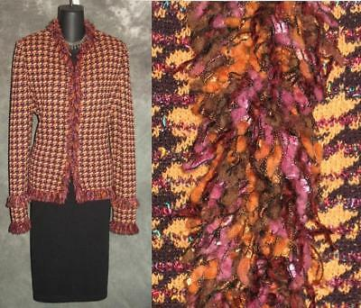 Provided Beautiful St John Collection Jacket Knit Purple Brown Fringe Suit Blazer Size 8 Sophisticated Technologies