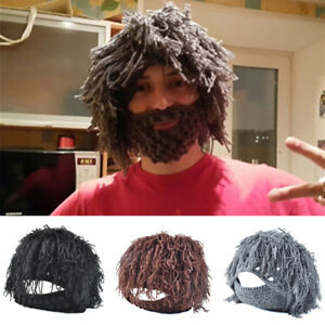 28105a3ff72 Men Funny Warm Knitted Beard Winter Hat Messy Hair Moustache Crochet ...