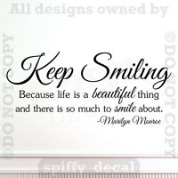 KEEP SMILING LIFE IS BEAUTIFUL MARILYN MONROE Quote Vinyl Wall Decal Sticker Art