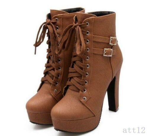 Women/'s Platform Ankle Boot Goth Buckle Lace Up Motor  High Heel Pumps Shoes