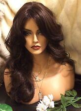 Beautiful  Long, Dark Brown, Bangs,  Skin Part Wavy  Wig