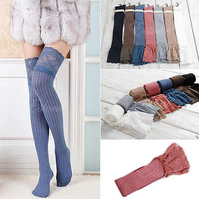 Womens Lace Knitting High Socks Over Knee Thigh High Stockings Pantyhose Warm