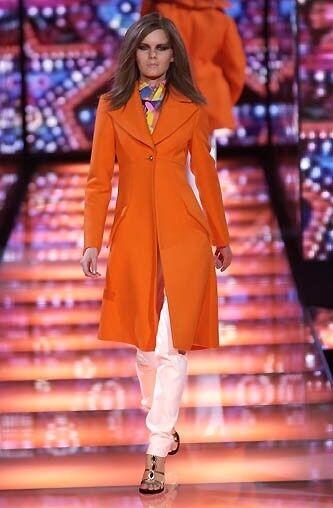 GiANNI VERSACE RUNWAY Fall 2002 2002 2002 orange Wool Coat Size IT 42 US 6 e51722