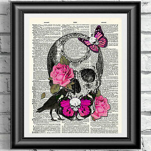 ART-PRINT-ON-ORIGINAL-ANTIQUE-BOOK-PAGE-Pink-Skull-Special-Edition-DICTIONARY