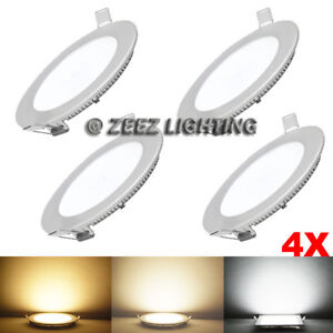"""4X 15W 7/""""Round Cool White LED Dimmable Recessed Ceiling Panel Down Light Fixture"""