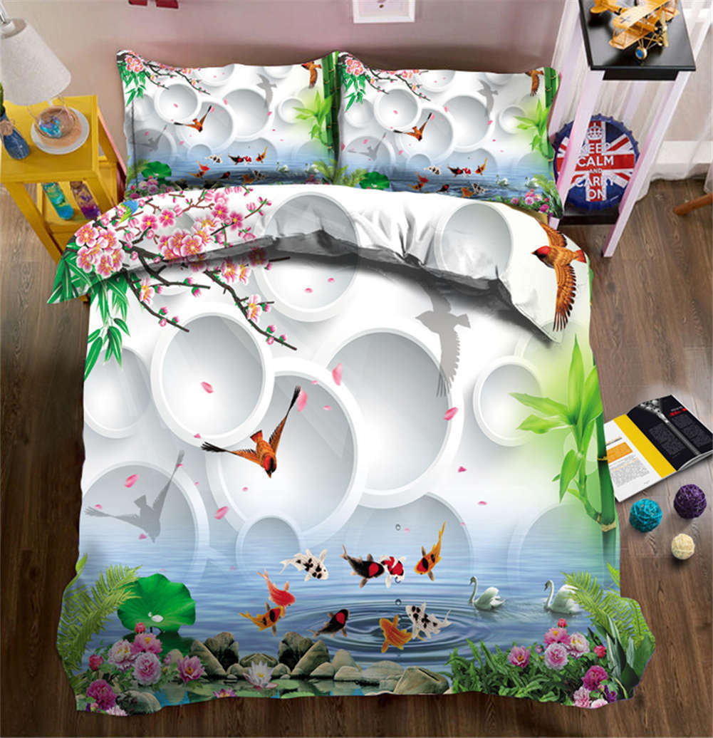 Jumping Red Carp 3D Printing Duvet Quilt Doona Covers Pillow Case Bedding Sets