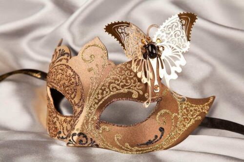 Womens Eye Masks with Metal Butterfly Teresa Gold