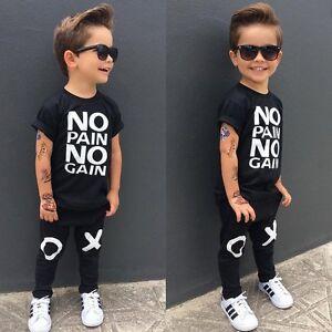 fa0da2e37 2pcs Toddler Kids Baby Boys Summer Clothes T-shirt Tops+Long Pants ...