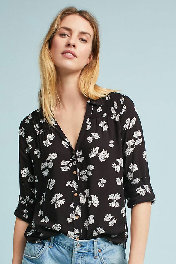 ANTHROPOLOGIE Emory schwarz Bow Print  Shirt Top  by Maeve    14  NWT
