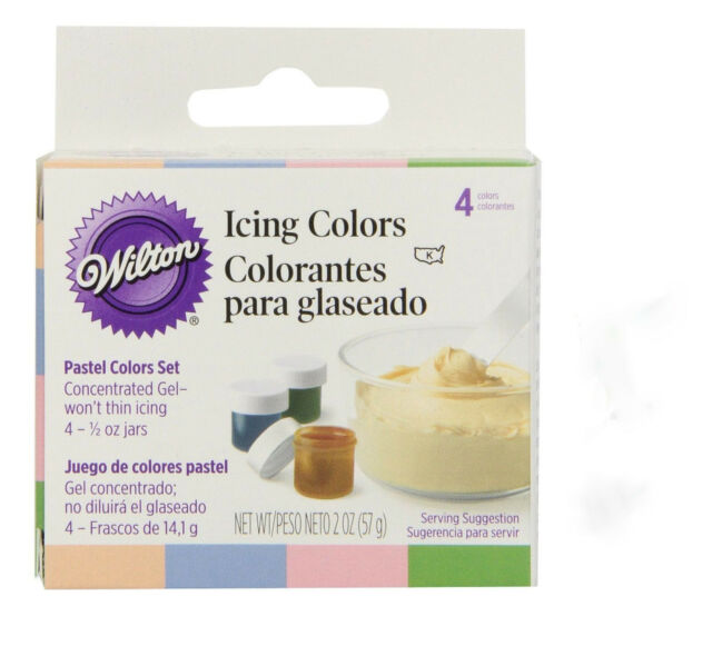 WILTON Pack of 4 Pastel Edible Food Coloring Icing Cake Decorating 601-25588