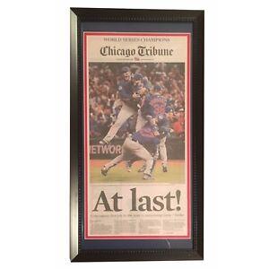 Chicago-Cubs-2016-World-Series-Baseball-Champs-AT-LAST-Tribune-Framed-Newspaper