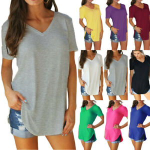 Womens V Neck Short Sleeve Tunic T-Shirt Solid Loose Blouse Casual Summer Tops