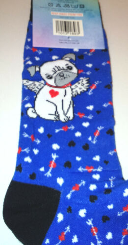 MENS ANGEL PUG SOCKS Blue Black Heel  Size 9-11 Hearts Arrows CUTE PUP LOVE GIFT