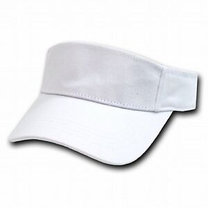 Details about White Brushed Cotton Golf Tennis Plain Adjustable Sun Visor  Cap Caps Hat Hats 73fa3888f57