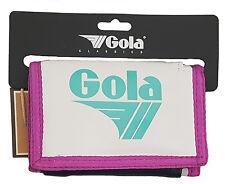 MENS / BOYS GOLA CLASSIC NYLON WALLET WITH ZIP COIN POCKET - WHITE / FUCHSIA