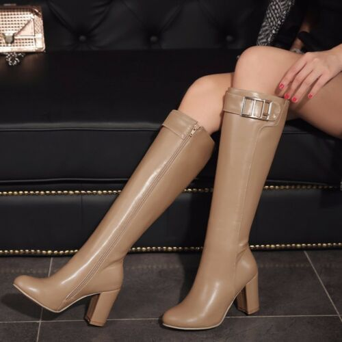 Womens High Block Heel Buckle Side Zip Knight Knee High Boots Casual Shoes Size