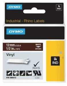 Dymo-1805412-1-2-034-x-18-ft-Brown-Vinyl-Labels-White-Print