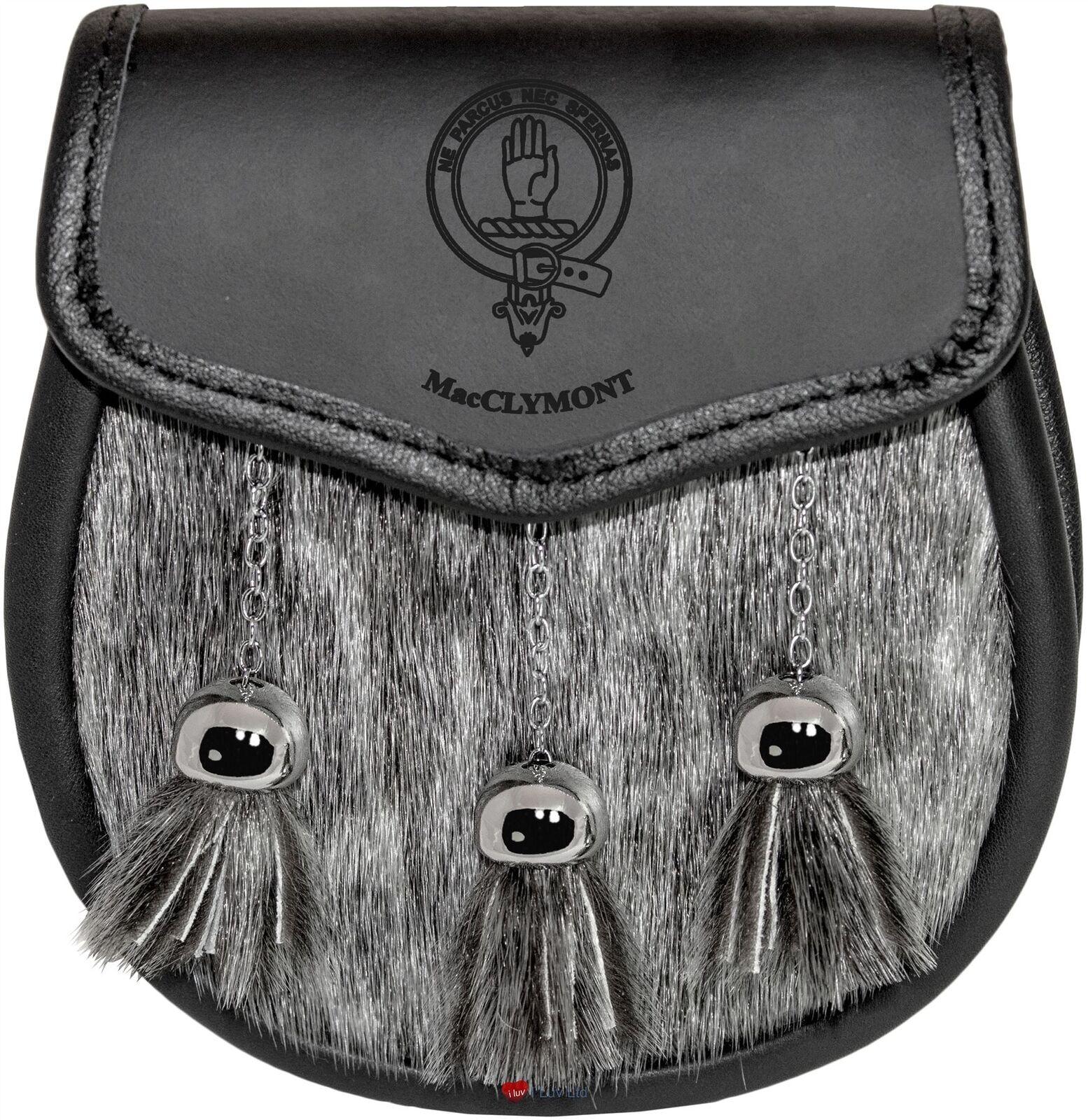 MacClymont Semi Sporran Fur Plain Leather Flap Scottish Clan Crest