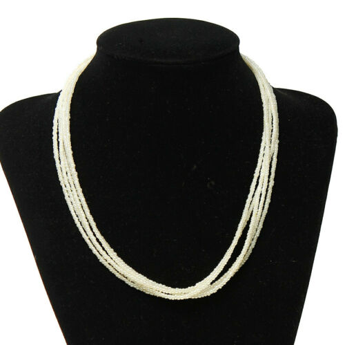 N108 Seed Bead Necklace Ivory Tone Base 5 Strand With Clasp and Extender