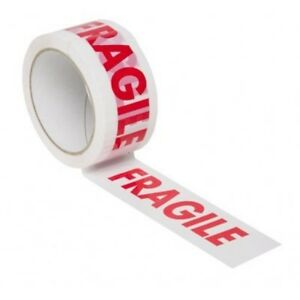 12 ROLLS OF FRAGILE PRINTED PACKING PARCEL CARTON SEALING TAPE 48mm x 66m 7091046769368