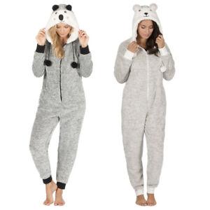 damen onesie jumpsuit snuggle fleece overall nachtw sche freizeit urlaub 2tone ebay. Black Bedroom Furniture Sets. Home Design Ideas