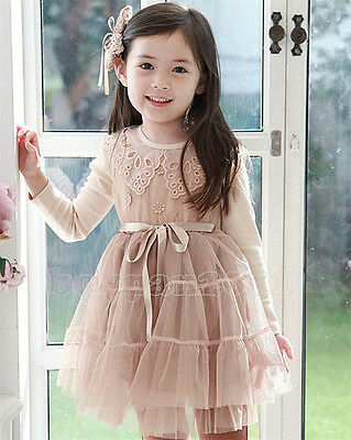 Newest Kids Toddlers Girls Cute Clothes Princess Long Sleeve Skirt Dress Sz2-7Y