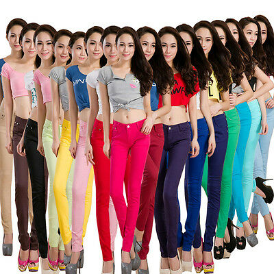 Women's Lady's Stretch Candy Pencil Pants Casual Slim Fit Skinny Jeans Trousers
