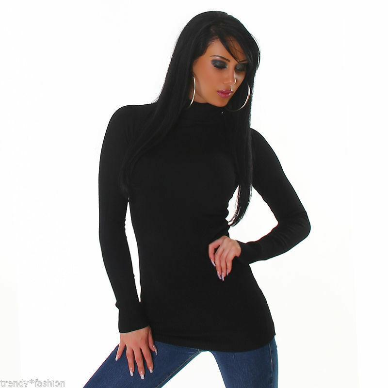 ???? ???? Fein-tricot Pull Taille Unique Avec Col Roule Black