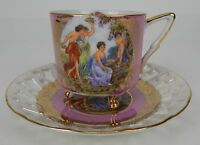 Vintage Royal Halsey Very Fine China Pink 3 Footed Tea Cup and Saucer Set