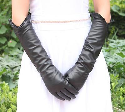 Women Fashion 45cm Long Genuine Leather Lambskin Floral Winter Opera Gloves