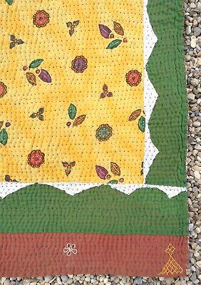 Marchio Popolare Splendida Grande Vintage Cotone Indiano Trapunta/copriletto-mostra Il Titolo Originale Circolazione Del Sangue Tonificante E Arresto Del Dolore