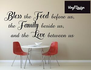 Bless This Food Quote Vinyl Wall Art
