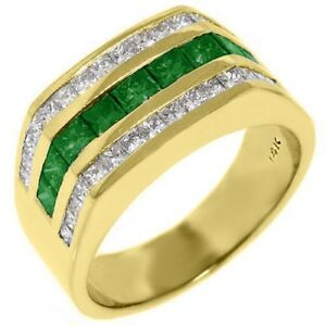 29d6cf2884650 Details about MENS EMERALD AND DIAMOND RING WEDDING BAND PRINCESS CUT 14KT  YELLOW GOLD 3 CARAT