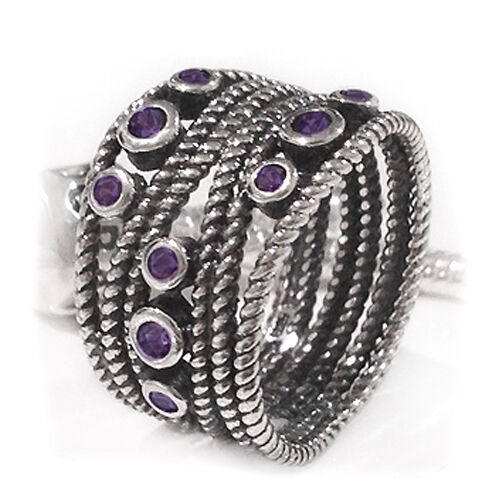 Size 7 925 Sterling Silver Oxidized Purple Cubic Zirconia Rope Twist Dress Ring