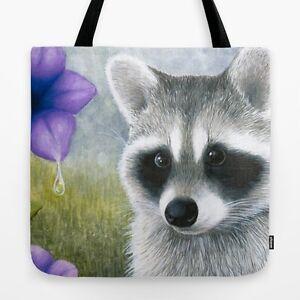 Tote-bag-All-over-print-Raccoon-20-purple-flower-art-painting-L-Dumas