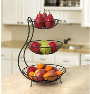 Details About 3 Tier Fruit Stand Tiered Basket Stacked Bowl Server Steel Arched Kitchen