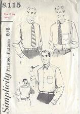 1952 Vintage cucito Modello Collo: INS petto:38 Men's Shirt (1099)