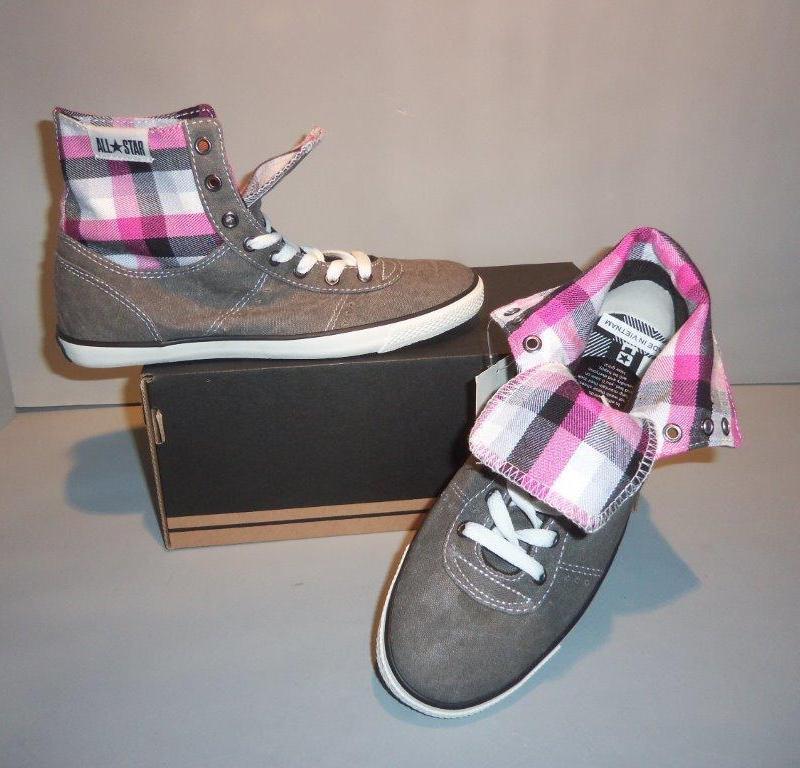 Converse Women's Chuck Taylor A/S Charter Mid Fold Down Gray Shoes SIZES NIB