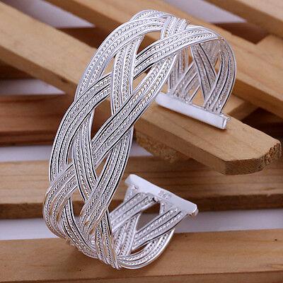 Lowest price wholesale solid silver fashion weave cuff bracelet +box DB13