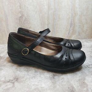 Dansko-Mathilda-Mary-Jane-Sz-40-Black-Leather-Perforated-Wedge-Shoes-Nursing