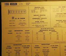 1956 Hudson SIX Hornet Wasp Models 308 202 CI L6 Tune Up Chart