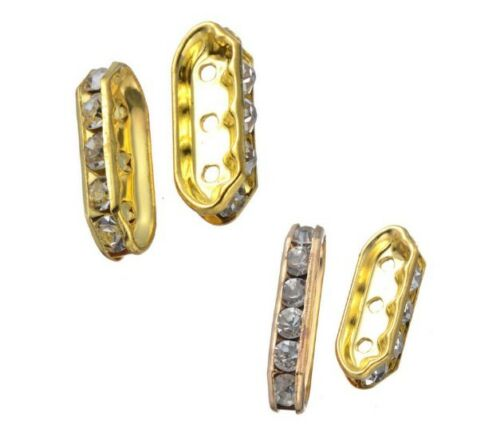 varitons 2 3 5 hole clear CZ pave brass strip bar spacer loose beads supply