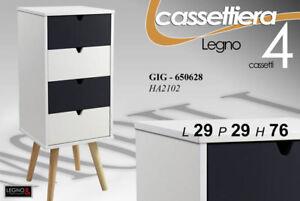 CASSETTIERA-H76-29-29-MODERNA-4-CAS-COMODINO-LIVING-NERA-BIANCA-LEGNO-GIG-650628