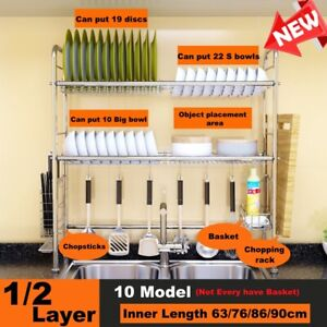 1/2 Tier Stainless Steel Over Sink Dish Drying Rack Shelf Kitchen Cutlery Holder